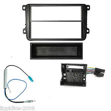 VW POLO e 2005 to 2009 BLACK SINGLE OR DOUBLE DIN FITTING KIT ADAPTOR FASCIA