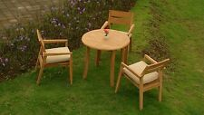 "Celo 4-pc Outdoor Teak Dining Patio: 36"" Round Table, 3 Stacking Arm Chairs"