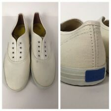 Vintage 1980s White Keds Canvas Lace Up Casual Shoes Flats Light Weight 6S