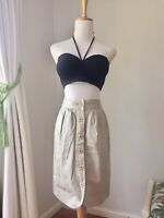 Witchery Button Down Beige Funky Skirt With Pockets Size 6 Casual Comfortable