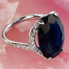 Blue Sapphire Quartz & Topaz Gems Silver Lady's Ring Size 7