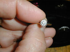 New Old Stock Diamond Engagement Ring 14kt Gold 7 Diamonds,Size 6-,grams 1.9