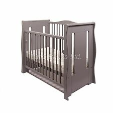 GREY TIA SLEIGH MINI COT / SPACE SAVER COT with OR without mattress 100x50x10cm