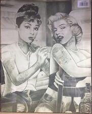 AUDREY HEPBURN MARILYN MONROE TATTOO SMOKING  CANVAS WALL ART READY TO HANG