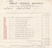 Great Central Railway Dividend Account for Half-Year Ending 1921 Receipt Rf39746