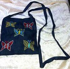 UMHÄNGETASCHE Jeans Hippie Handtasche Tasche Jeanstasche Stickerei Schmetterling