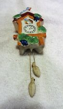 Vintage Cuckoo Clock With Blue Birds Wall Pocket Vase #4137 Made In Japan