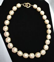 """Vtg Les Bernard Pearl Necklace Large Faux Creamy Chunky Button Knot Strand 19"""""""