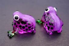 2 Tiny Glass FROGS Purple & Black Spotted Glass Ornaments Animals Glass Figures