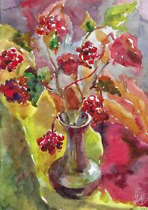 original painting 21,5 x 30,5 cm 14MrX art modern Watercolor flowers in vase
