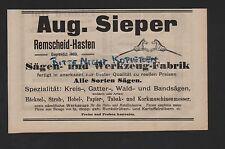 REMSCHEID-HASTEN, Anzeige 1909, Aug. Sieper Sägen-Werkzeug-Fabrik