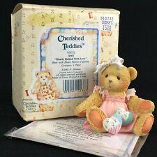 Vtg Enesco Cherished Teddies Figurine Amy Bear Heart Pillows 910732 Love 1992