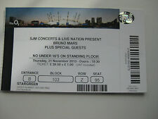 BRUNO MARS  O2 LONDON  21/11/2013 TICKET