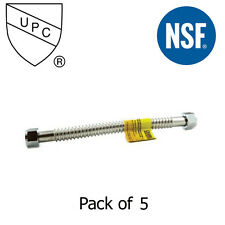 """Stainless Steel Water Heater Connector 2"""" Fip X 2"""" Fip X 18""""- Pack of 5"""