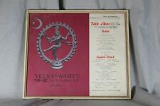 uralte Speisekarte - London 1954 - Veeraswamy´s Restaurant - gerahmt + Glas /195
