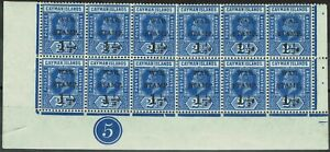 CAYMAN ISLANDS 1917 KGV WAR TAX 11/2D ON 21/2D STRAIGHT SERIF */** PLATE 5 BLOCK
