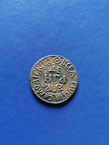 1707 RUSSIA Empire Denga Cooper Coin Peter I the Great