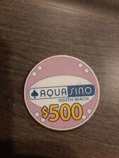 New Listing$500.00 Casino Chip Aquasino South Beach Miami Florida Rare Casino Collectible