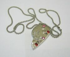 half heart pendant approx 46 cm Lovely silver tone metal ball style necklace
