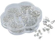 Box DIY Silver Tone Jewelry Making Findings Earrings Clasps Settings Accessories