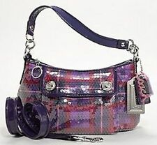 COACH POPPY SEQUIN TARTAN GROOVY BAG 16048 WITH DUSTBAG BERRY MULTI NWT $258