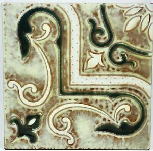 """Art Pottery Tile Italian Hand Painted Red Clay Butter Yellow & Green Design 6"""""""