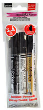 Pebeo Deco Paint Markers Set 3 x 1.2mm Round Tip in Colours Black, White & Gold