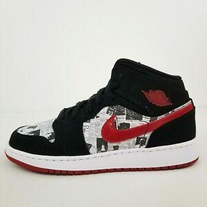 Nike Air Jordan 1 Mid SE Newspaper Air Times BQ6931-061 New Youth Shoes No Lid