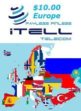 Europe Calling Card international PINless Call from USA to Europe cheap rate $10