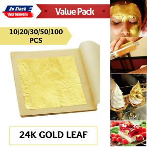 Pure 24k Gold Leaf Sheet Book 4.3*4.3cm 10-100X Food Edible Decorating Art Craft
