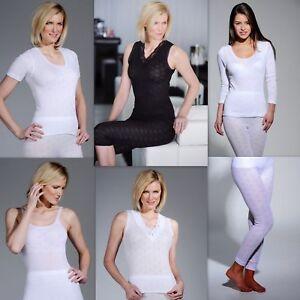 Ladies Thermal  Vest, Short sleeve Long Sleeve, Long John  White-Black M to 3XL