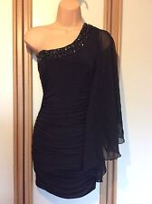 Jane Norman One Shoulder Black Fitted Ruched Short Party Dress Size 8