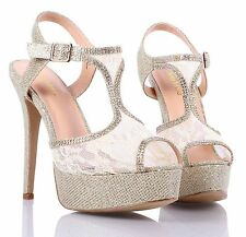 Gold Peep Toe Stiletto Lace Glitter Platform Womens High Heels Shoes Size 8