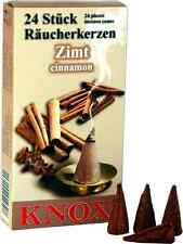 24 Räucherkerzen Räucherkegel Dhoop Cones - Knox Zimt Cinamon