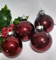 Vintage Christmas Ornament lot of 4 Mercury Glass Balls RAUCH BURGUNDY RED