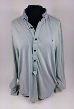 Allsaints Long Sleeve Polo Shirt Inverted Convertible Collar Lightweight Sz XXL