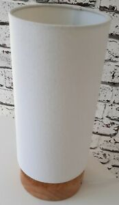 Cream cylinder table lamp wood effect base