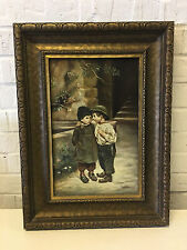 Vtg Antique N. Possibly Nicholas Lenz Signed Oil Painting of Young Girl & Boy