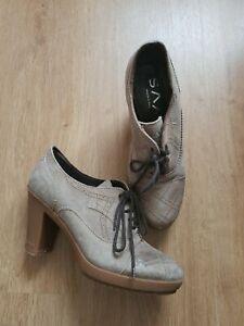 Women's SAX  suede Leather shoes beige Color Size UK 3