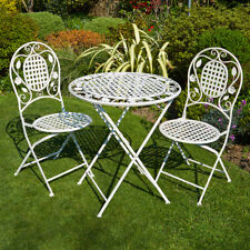 Vintage Retro Cream Metal 2 Seater Patio Bistro Garden Chair Table Set