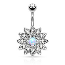 1 Pc Paved Crystal Flower W/ White Opal Center Navel / Belly Ring 14g 3/8""