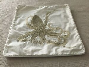 """RARE Pottery Barn Octopus  Pillow Cover 18""""x 18""""  Embroidered Costal"""
