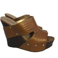 Qupid Light Brown Leather Peep Toe Cut Out Platform Wedge Sandals Women's Size 9