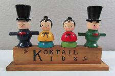 Vtg Wood Figure Bar Set Tools Corkscrew Wine Opener JAPAN Barware Pub Decor