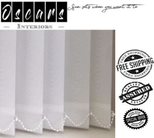 """>Made To Measure Patterned Vertical Blind Replacement White Slats3.5""""/89mm <"""