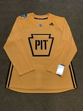 Adidas Authentic Penguins 2019 Stadium Series Gold Practice Jersey (Size 54)
