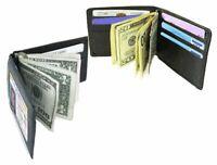 Black Genuine Leather Men's Bifold Money Clip Spring loaded Wallet RFID Blocking