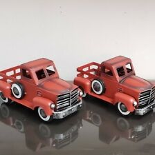 2 Holiday Red Metal Collectible Christmas Decor Pick Up Trucks FREE SHIPPING New