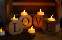 Rustic Love Tea Light Candle Holder Wooden Log Table Centrepiece Christmas Decor