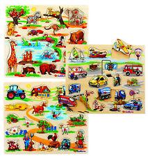 Eichhorn Steckpuzzle Holzspielzeug - Safari, Bauernhof, Verkehr